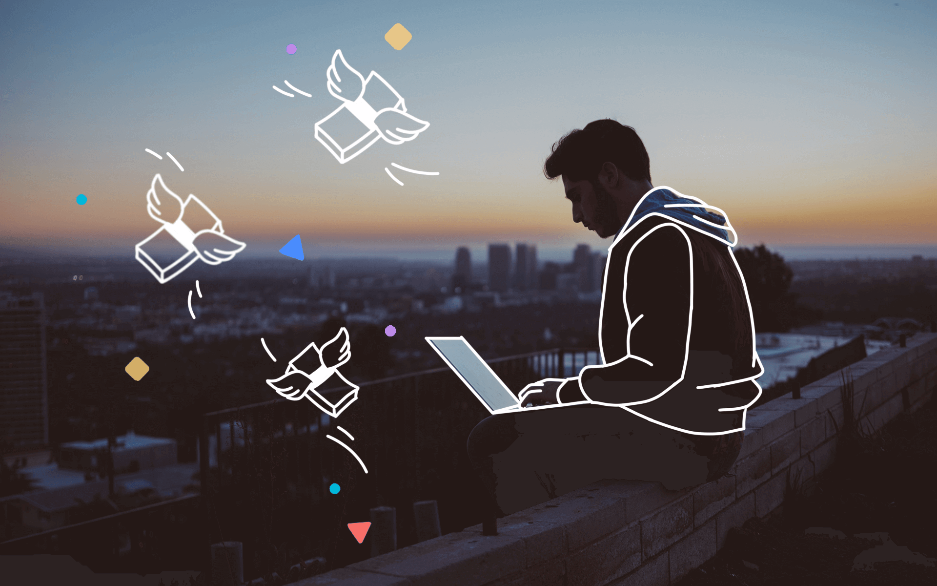 How to make money on fiverr header presenting a working freelancer on a rooftop with a city landscape at night.