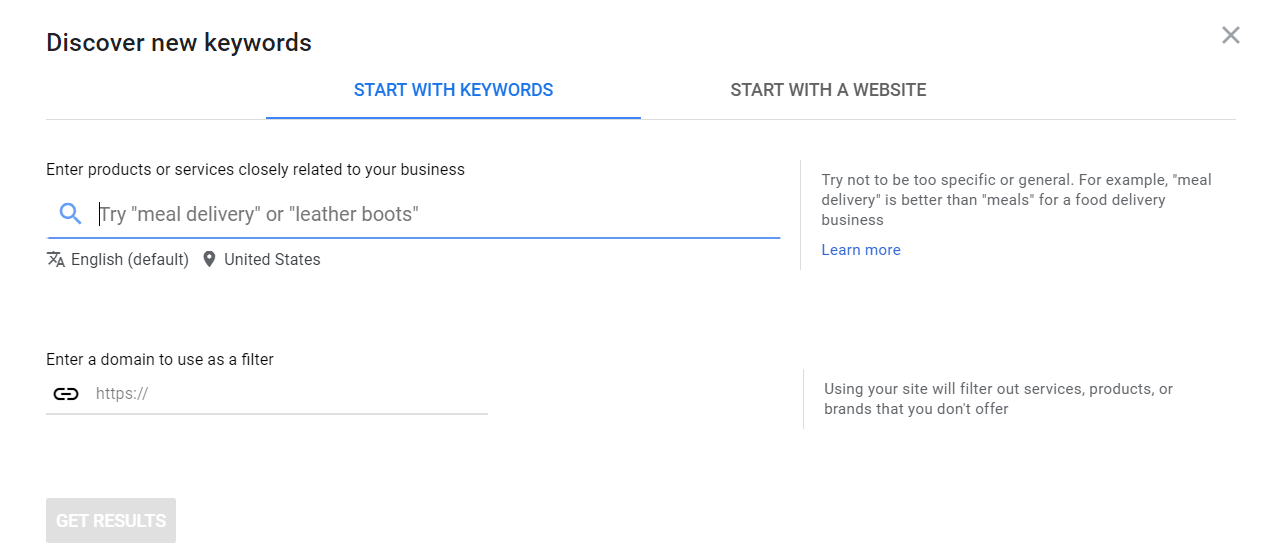 Start with Keywords