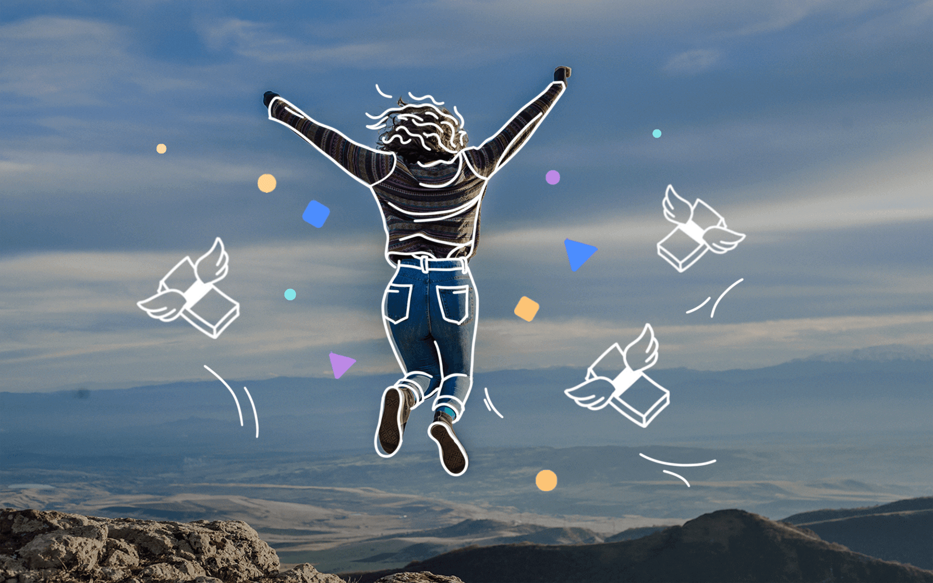Header showing a jumping from joy woman with floating money around high in the mountains.