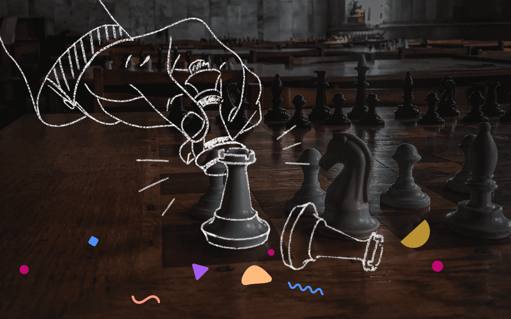 Hero header with chess pieces.